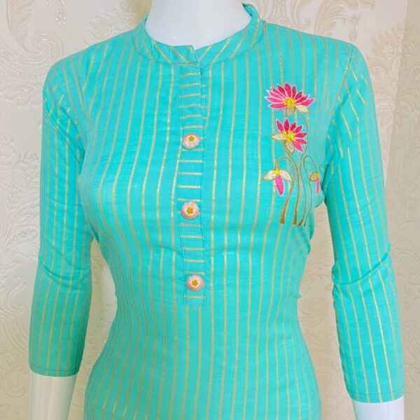 Smashing Sky Blue Color Full Stitched Rayon Embroidered Designer Kurti Pent Set