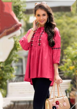 Fantastic Pink Color Ready Made Jam Cotton Fancy Embroidered Western Top