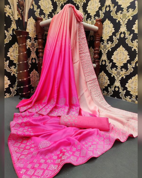 Fab Super Light Pink Color Designer Satin Silk Stone Diamond HB Machine Work Saree Blouse
