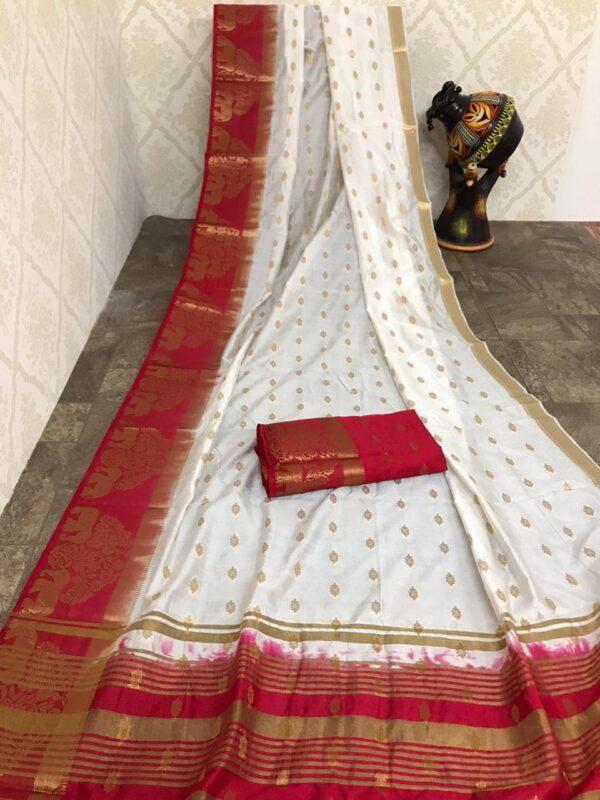 Captivating White Color Designer Soft Row Silk Zari Weaving Border Chit Pallu Saree Blouse