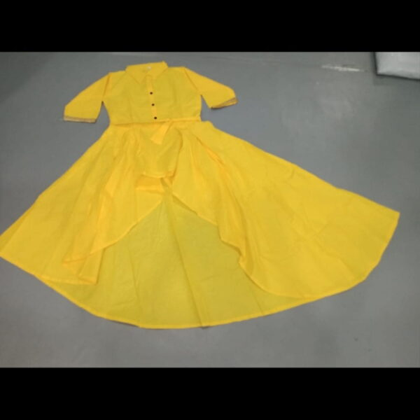 Lovely Yellow Color PC Cotton Up And Down Pattern Design Full Stitched Kurti