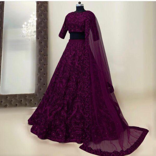 Splendid Wine Color Designer Tapeta Silk Chain Diamond Work Wedding Wear Lehenga Choli