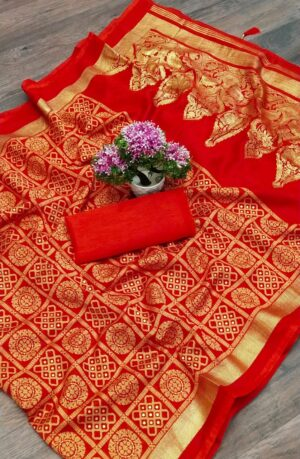 Charming Red Color Wedding Wear Cotton Bandhani Foil Printed Saree Blouse