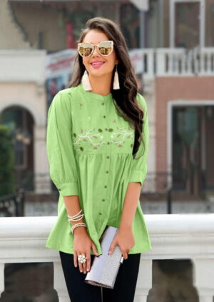 Wondrous Light Green Color Embroidered Jam Cotton Designer Western Ready Made Top
