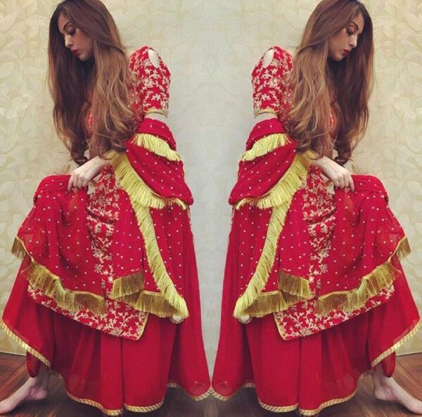 Wondrous Red Color Full Stitched Tapetta Silk Codding Work Wedding Wear Plazo Salwar Kameez