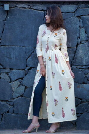 Bewitching Off White Color Designer Wear Full Stitched Crape Digital Printed With Button Kurti