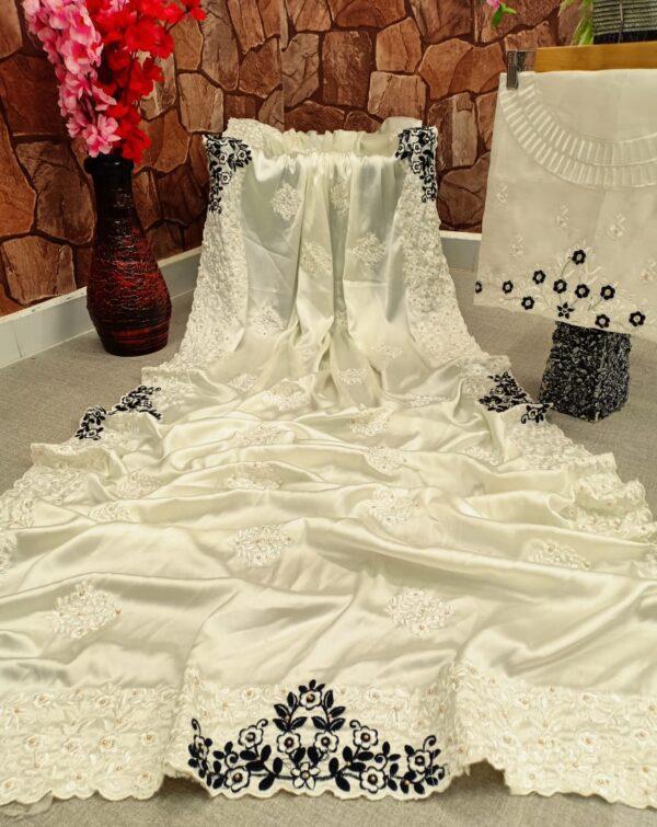 Exquisite Cream Color Wear Satin Silk Designer Thread Cotton Embroidered Viscos Diamond Work All Over Saree Blouse