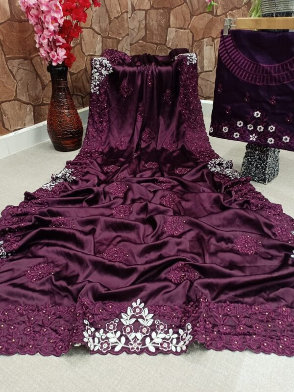 Gorgeous Wine Color Function Wear Satin Silk Cotton Thread Embroidered Diamond Viscos Work All Over Saree Blouse