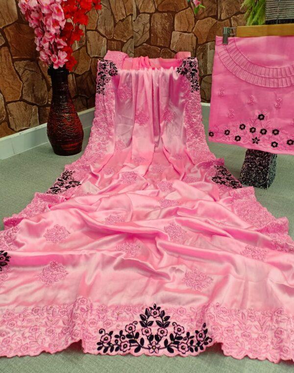 Smashing Pink Color Satin Silk Designer Cotton Thread Embroidered Diamond Viscos All Over Saree Blouse