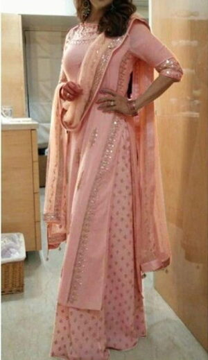 Attractive Peach Color Wear Ready Made Georgette Zari Embroidered Plazo Salwar Kameez