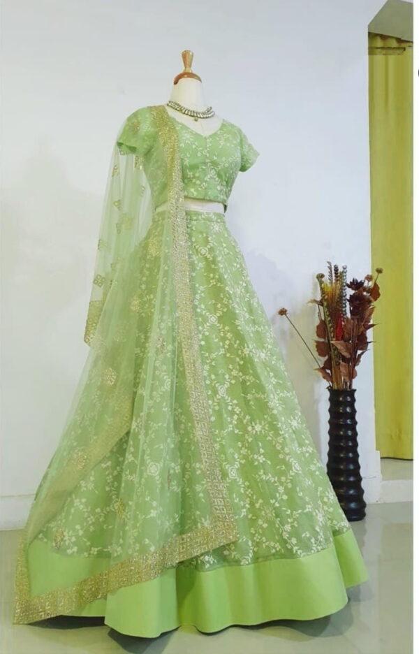 Striking Light Green Color Wear Net Thread Embroidered Designer Lehenga Choli