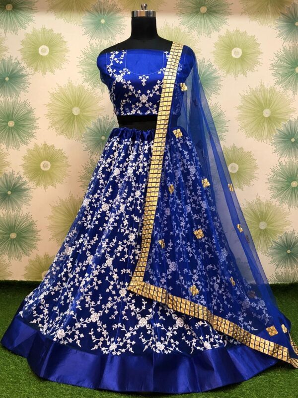 Devastating Dark Blue Color Party Wear Heavy Net Embroidered Thread Work Lehenga Choli