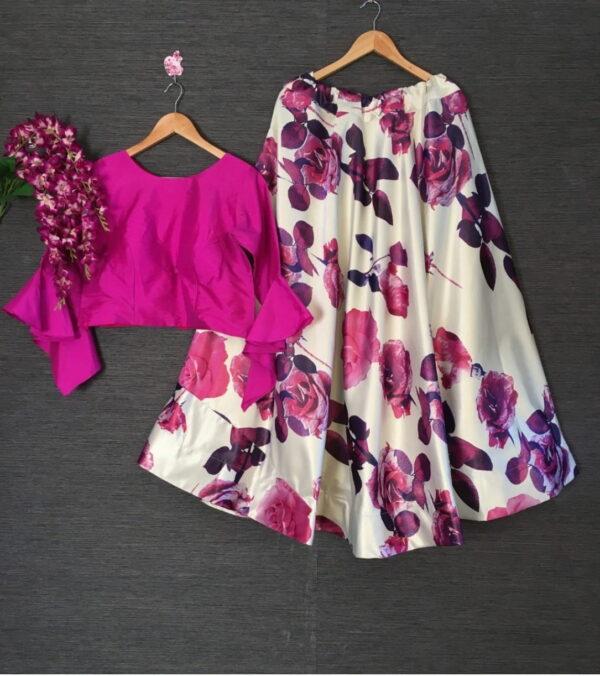 Glorious Magenta Color Fancy Printed Zari Satin Silk Full Stitched Party Wear Lehenga Choli