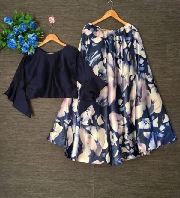 Captivating Navy Blue Color Function Wear Zari Silk Satin Designer Printed Ready Made Lehenga Choli