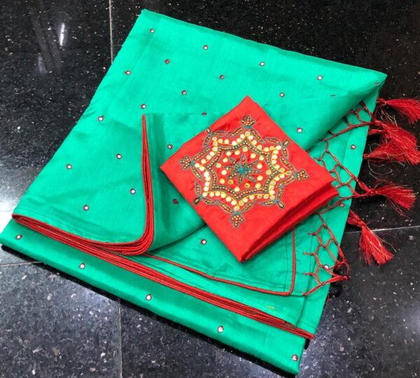 Pulchritudinous Firozi Color Designer Silk Contrast Piping Hand Made Button Mirror Work Saree Blouse