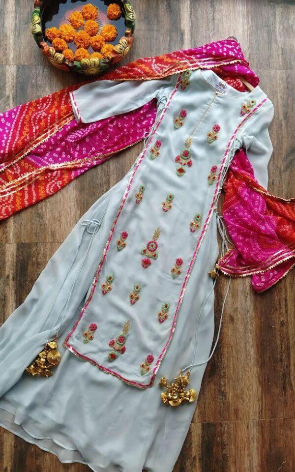 Remarkable Light Blue Color Full Stitched Wedding Wear Designer Georgette Thread Codding Embroidered Plazo Salwar Kameez