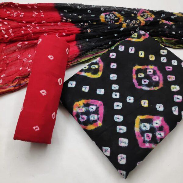 Astonishing Black Color Party Wear Designer Cotton Hand Design Bandhej Salwar Kameez