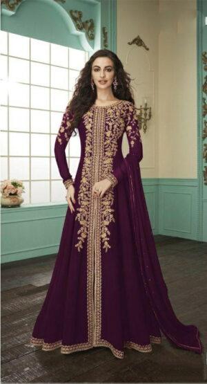Alluring Wine Color Function Wear Embroidered Codding Work Designer Faux Georgette Salwar Kameez