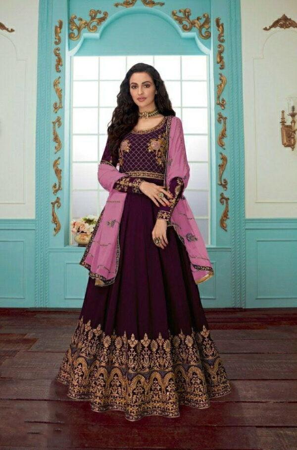 Exquisite Wine Color Wedding Wear Faux Georgette Designer Chain Stitch Stone Work Salwar Kameez