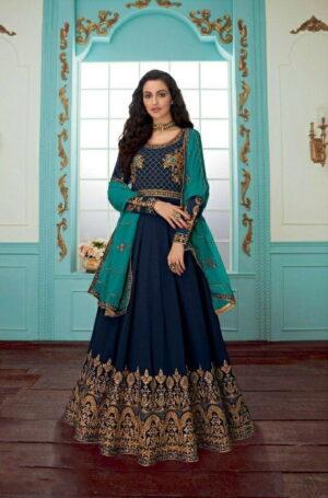 Amazeballs Navy Blue Color Fancy Faux Georgette Stone Chain Stitch Work Salwar Kameez