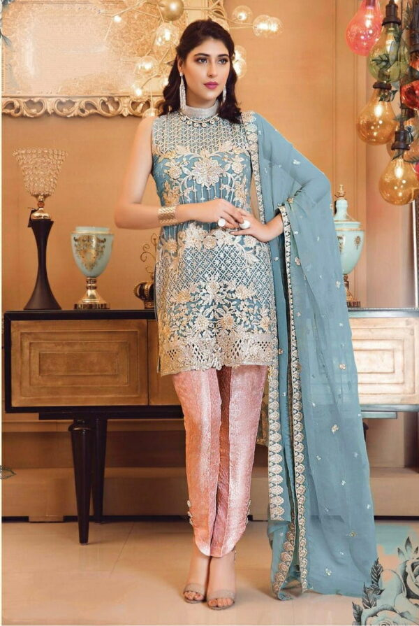Smashing Light Blue Color Party Wear Faux Georgette Designer Sequence Embroidered Salwar Kameez