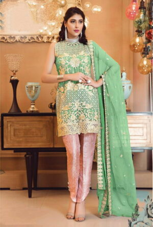 Beauteous Sea Green Color Faux Georgette Fancy Embroidered Sequence Work Salwar Kameez
