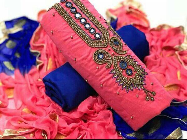 Remarkable Pink Color Wear Chanderi Hand Khatli Work Salwar Kameez