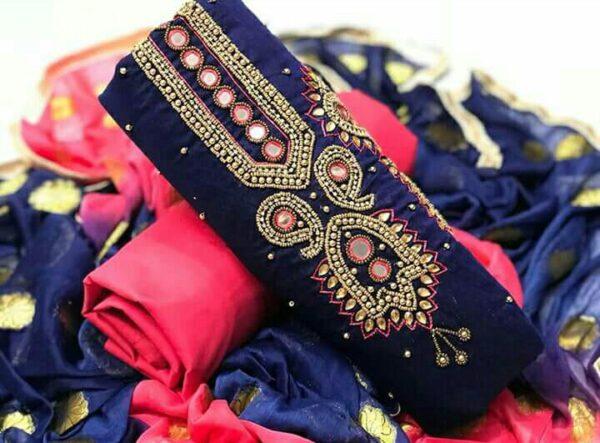 Impressive Navy Blue Color Chanderi Khatli Hand Work Designer Party Wear Salwar Kameez