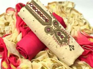 Amazing Cream Color Hand Khatli Work Chanderi Fancy Salwar Kameez
