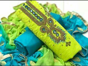 Astonishing Kelly Green Color Function Wear Chanderi Designer Khatli Hand Work Salwar Kameez