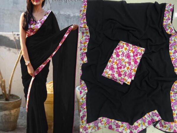 Mind-Blowing Party Wear Black Color Fancy Printed Border Georgette Designer Saree Blouse