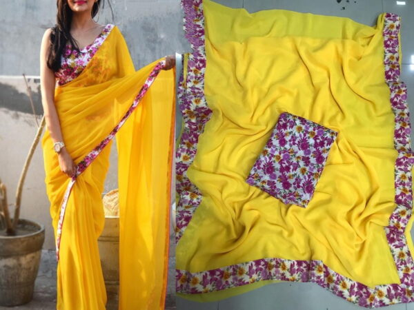 Fab Super Yellow Color Designer Georgette Printed Border Saree Blouse