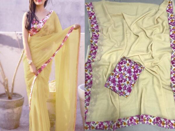 Fantastic Cream Color Fancy Georgette Printed Border Wedding Wear Saree Blouse