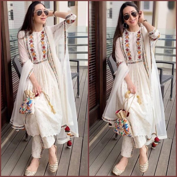 Tremendous White Color Wear Embroidered Georgette Full Stitched Plazo Salwar Kameez