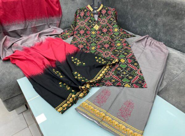 Beautiful Multi Color Party Wear Ready Made Flex Cotton Printed Plazo Salwar Kameez