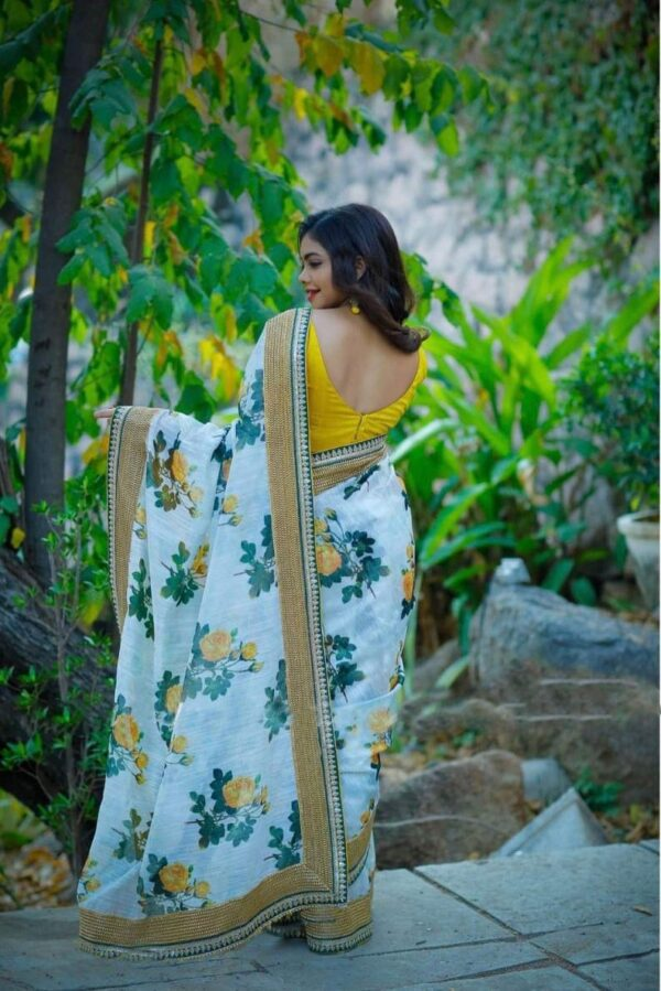 Attractive White Color Wedding Wear Silk Embroidered Sequence Work Fancy Printed Saree Blouse