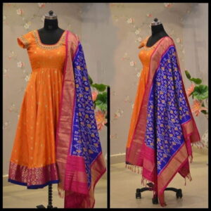 Good-Looking Orange Color Rayon Flex Cotton Fancy Printed Party Wear Full Stitched Kurti With Dupatta