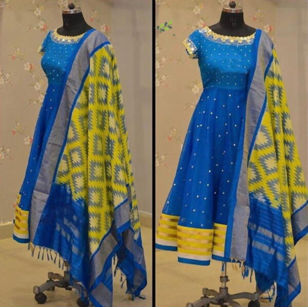 Comely Function Wear Sky Blue Color Ready Made Cotton Rayon Flex Printed Kurti With Dupatta