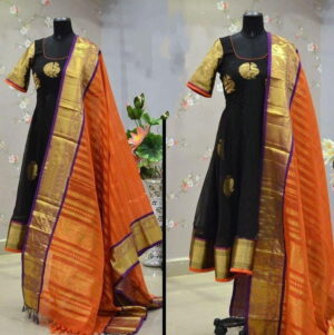 Pretty Black Color Party Wear Full Stitched Printed Cotton Flex Rayon Kurti With Dupatta