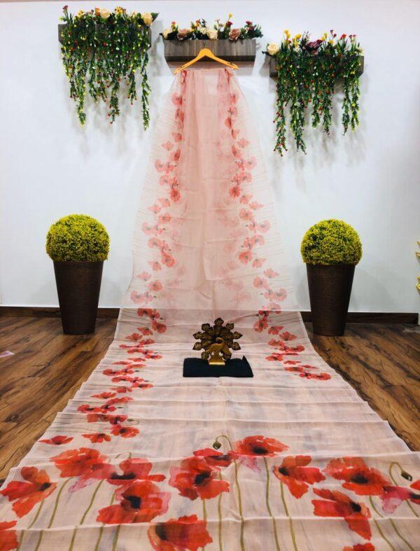 Dazzling Off White Color Party Wear Digital Printed Designer Organza Saree Blouse