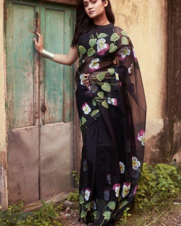 Glorious Black Color Designer Organza Digital Printed Saree Blouse