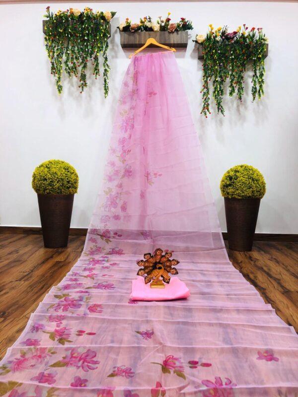 Bewitching Light Pink Color Wear Digital Printed Designer Organza Saree Blouse