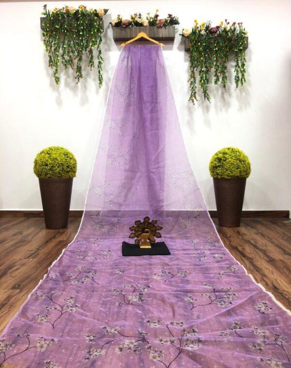 Charming Violet Color Fancy Organza Digital Printed Saree Blouse