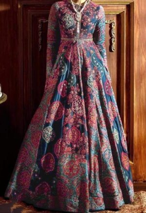 Alluring Navy Blue Color Full Stitched Italian Silk Digital Printed Gown