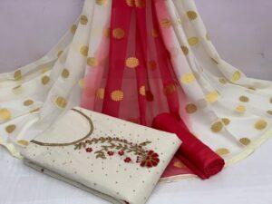 Amazing Off White Color Designer Khatli Hand Work Cotton Chanderi Salwar Kameez