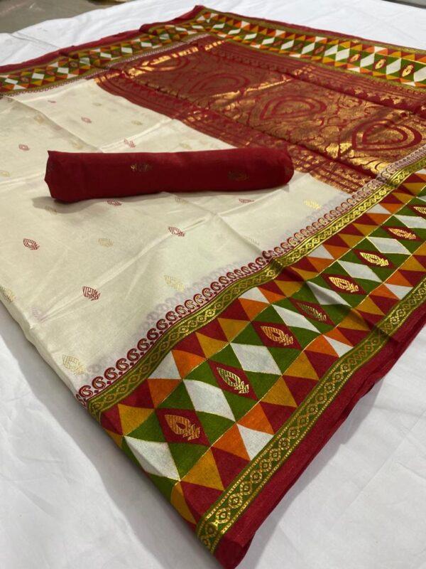 Marvellous Multi Color Wear Jacquard Foil Printed Soft Silk Rich Pallu Saree Blouse