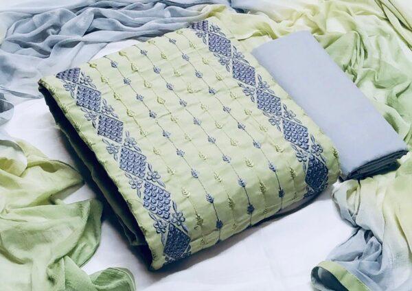 Fab Super Light Green Color Fancy Cotton Embroidered Salwar Kameez