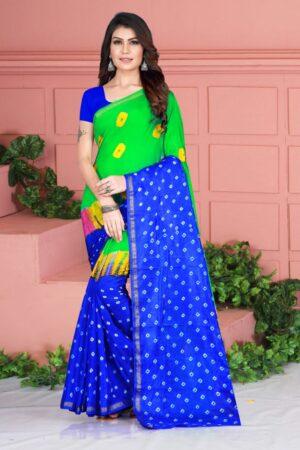 Tremendous Royal Blue Color Function Wear Taffeta Silk Designer Bandhej Hand Design Saree Blouse