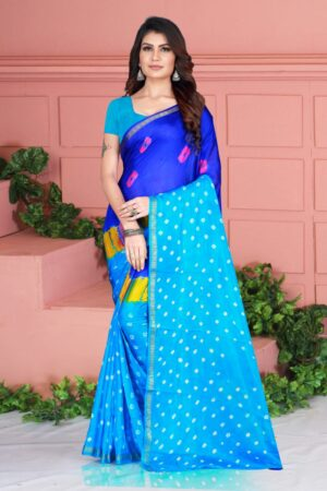 Wondrous Sky Blue Color Taffeta Silk Fancy Bandhej Hand Design Saree Blouse
