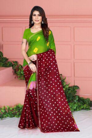 Lovely Maroon Color Silk Taffeta Bandhej Hand Design Saree Blouse